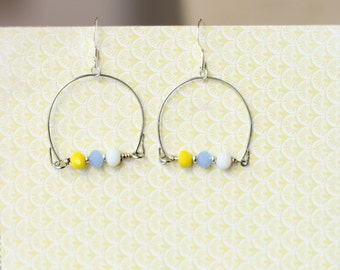Handmade medium loops with white, blue and yellow beads