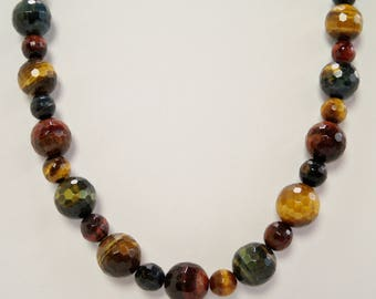 Tiger Eye Necklace, Red, Blue and Brown Tiger Eye Jewelry, Handmade, Beaded Necklace, Multi Tiger Eye Necklace, Red Stone, Blue Stone, Gold