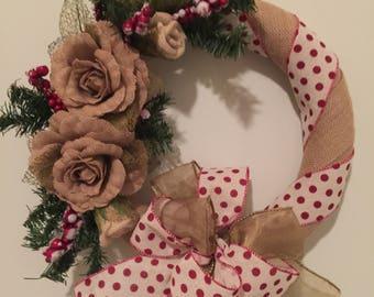Burlap Christmas Berry Wreath, Rustic Holiday Wreath, Christmas Wreath, Burlap Holiday Wreath