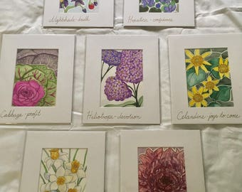 Floriography Watercolor Paintings