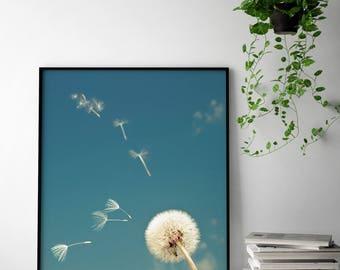 Dandelion Photography Print, Dandelion Wall Art, Dandelion Poster, Dandelion Botanical Art Print, Botanical Wall Art, Dandelion Printable