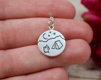 Sterling Silver Camping Charm - Campfire Girl - Moon and Stars Charm - Mountain Pendant - Make Your Own Charm Necklace