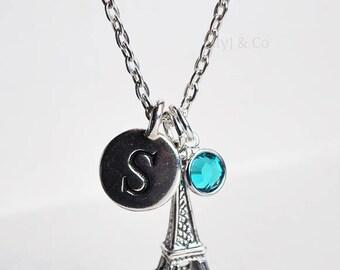 Eiffel Tower Charm Necklace, Personalised Eiffel Tower Necklace, Sterling Silver Eiffel Tower Charm, Initial Charm, France Charm,Paris Charm
