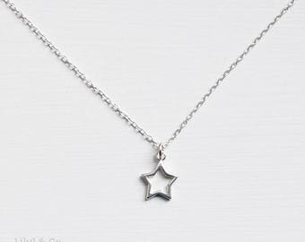 Sterling Silver Star Necklace, Star Necklace, Sterling Silver Star Charm Necklace, Star Necklace, Silver Star Charm Necklace, Birthday Gift