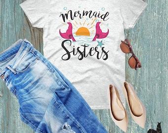 Mermaid Sisters, Mermaid Tshirt, Always Be A Mermaid, Nautical Tshirt, Womens Tshirt, Summer Fashion, Sister Gift, Mermaid Festival Tee