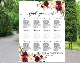 PRINTABLE Wedding Seating Chart Template, Boho Wedding Table seating assignment, Decor, Editable Text, Instant Download. Edit PDF - ASC45