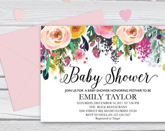 Floral Baby Shower, Floral Baby Shower Invitation, It's a Girl Shower Invite, Bridal Shower Card, Boho Girl Baby Invite, Instant Download 13