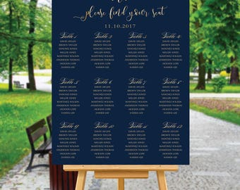 Wedding Seating Chart Template, Poster wedding seating chart, Wedding seating chart alphabet, Wedding Table seating, Navy seating chart, S94