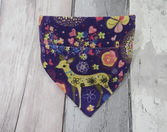 Deer Love Dog Bandana, dog clothes, dog accessories, slip on bandana, pet accessories, detachable bandana, collar accessory
