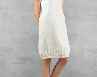 100% Linen Dress - made in N. Europe - Gray/White- Summer Women's Clothing