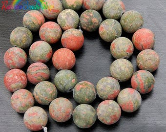 Natural Matte Green Red Unakite beads, Gemstone Beads, Stone Spacer Beads, Round Natural Beads,  4mm 6mm 8mm 10mm 12mm 15''5 strand