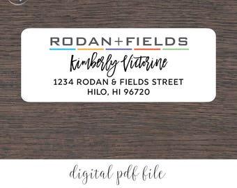 "Rodan and Fields Personalized Return Address Labels Digital File | 1"" x 2 5/8"""