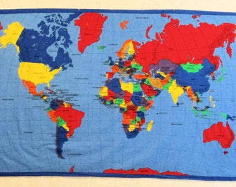 WORLD MAP Cotton Fabric for Wall Hanging or Quilt
