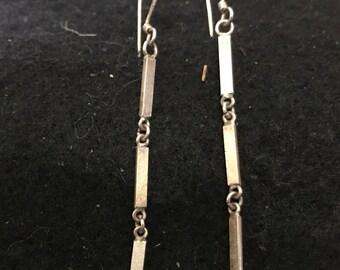 Vintage Sterling SIlver Geometric Earrings Marked
