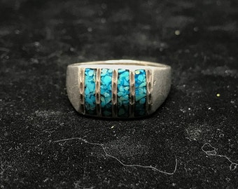 Vintage Sterling Silver with Crushed Turquoise Inlay Ring MARKED