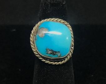Vintage Old Pawn Sterling Silver and Sleeping Beauty Turquoise Ring