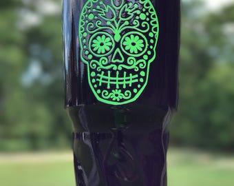 Sugar Skull Glow In The Dark Powder Coated Yeti Tumbler/No Vinyl Decal/Custom Yeti/Glitter Yeti/Gift/Yeti Cup/Skull Yeti/Sugar Skull Yeti