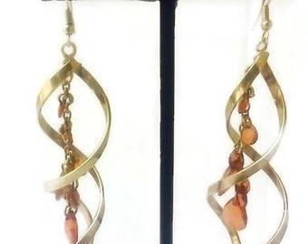 Vintage Silver Tone Double Helix dangle earrings