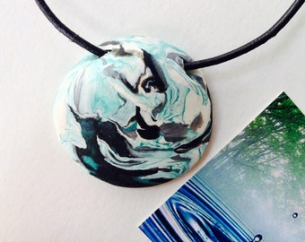 WATER 129 Nature Elements Necklace Unique Handmade Artistic Pendant Stone Adjustable Leather Cord Perfect Gift for Her
