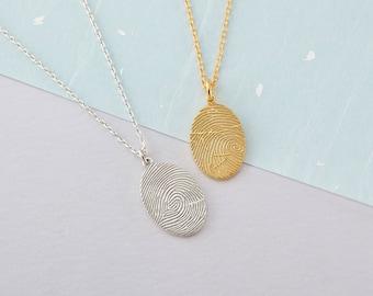 Fingerprint Necklace - Oval Fingerprint Necklace - Memorial Jewelry - Condolence Gift - Fingerprint Jewelry