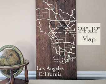 Los Angeles City Map, Large Wooden Map, Los Angeles Map Art, Wooden Street Map, Custom Painted Map, House Address Map by Novel Maps