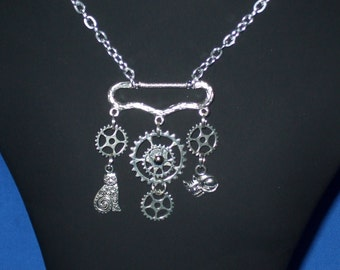 Steampunk cogs, gears and cats silver necklace, pendant