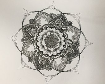 mandala flower dotted ink drawing