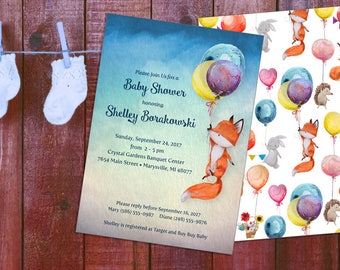 Fox Baby Shower Invitation Printable (Custom 5x7 - 2 sides) with coordinating Thank You - Printable file or Printed Cards