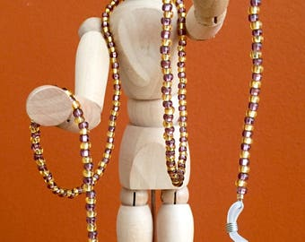 Purple & Gold Beaded Eyeglasses Chain / Glasses Necklace - 28 inch