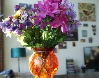 Decorative Flower Vase, Orange Flower Vase, Painted Glass Vase, Flower Vase, Glass Flower Vase, Rainbow Flower Vase, Stained Glass Vase