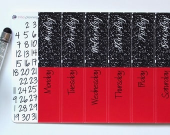 Big Happy Planner Date Covers - Black/Red