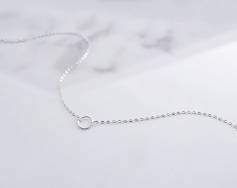 Delicate Circle Necklace, Unity Necklace, Dainty Necklace, Simple Sterling Silver Choker, Layered Necklace