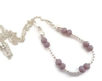Sterling silver handmade beaded necklace with pure silver beads and light violet crystal beads