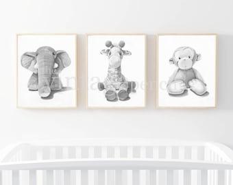 Nursery Print, Safari Nursery, Safari Animal Print, Animal Prints for Nursery, Zoo Animal Nursery, Zoo Animal Print, Safari Art,Gray Nursery