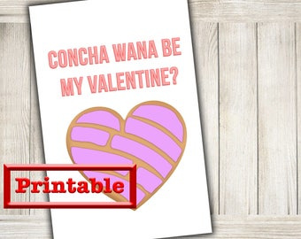 Printable Concha Valentines day card - Mexican Pan dulce