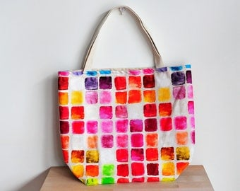 XL rainbow tote | water resistant tote | rainbow squares | market bag squares | shopping bag rainbow | beach bag XL | extra large tote