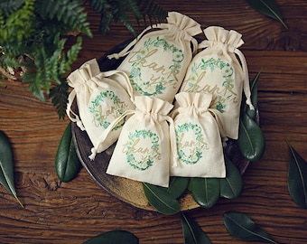 personalized wedding favor bags pouch custom cotton drawstring bag thank you bags candy bags Floral Wedding welcome gift bags 12-p