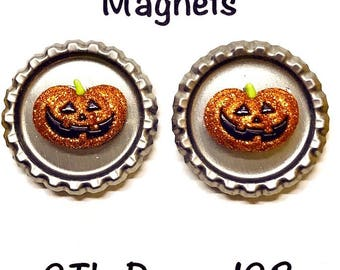 "Bottle Cap Magnets (2). 1"" Round Shimmering Halloween Pumpkin Charms. Extra Strong Magnets. MagARF.104"