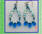 Caribbean Blue Beaded Dangle Earrings, Boho Earrings, Free Shipping, Handmade Jewelry, One of a Kind Jewelry, Gift Ideas
