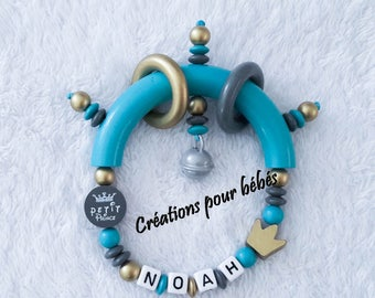 """Rattle personalized boy """"Little Prince"""" wood beads"""
