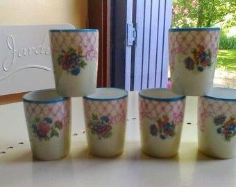 6 porcelaine Art Deco glasses - French vintage Limoges liqueur set