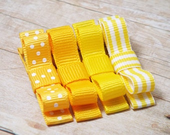 Yellow Hair Clips Yellow Hair Bows Tuxedo Bows Baby Yellow Bows Toddler Hair Clips Yellow Girl Hair Clips  Yellow Set Hair Clips