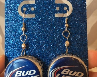 Recycled Bottle Cap Earrings- Bud Light Beer