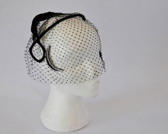 1950s Evening rhinestone Black Veiled Hat. Crescent moon and diamante stars adorn this velvet