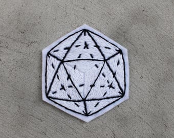Geometric Icosahedron Hand Embroidery Patch