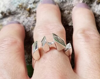 Sterling Silver Adjustable Ring- 'Claw Print'- Custom Jewelry- Contemporary Jewelry- Silver Rings for Women- designed by Sarah EK Muse