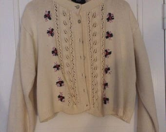 Retro rose bud knitted sweater