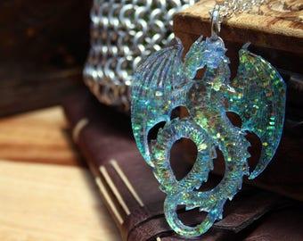 Glitter Pale Blue Colour Shift Water Dragon Glitter Resin Pendant Necklace