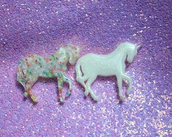 White Glitter OR Sprinkles Cute Unicorn Resin Pin Brooch