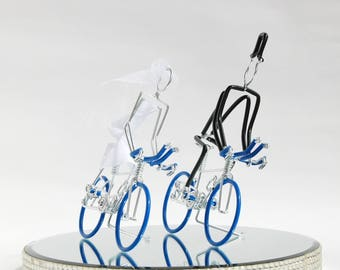 Wedding Cake Topper, Triathlon Bike Wedding Cake Topper, Handmade, Bicycle Cake Toppers, Mr and Mrs Triathlon Bikes with Dark Blue Wheels.